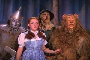 Image shows the Tin Man, Dorothy, the Scarecrow and the Cowardly Lion from the Wizard of Oz.