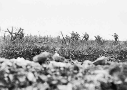 Black and white picture of Somme battlefield